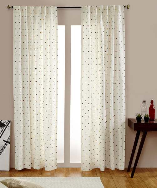 #P5536 Blue Dots Linen Curtain (Use Discount Code) Pay 1/2 Down