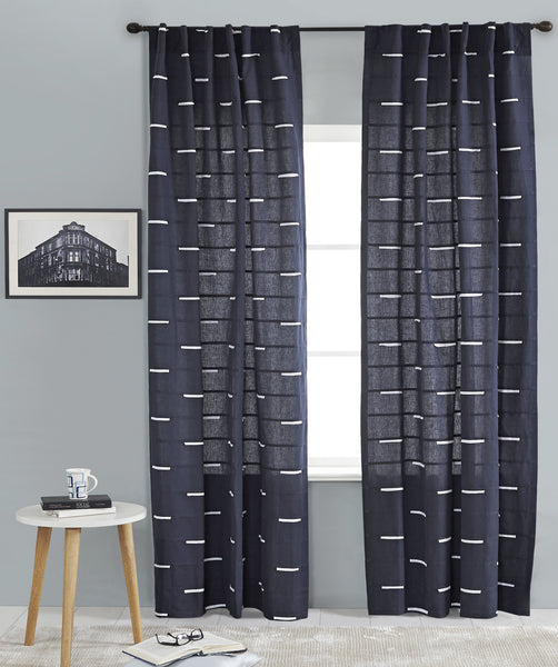 #P5537 Navy Embroidery Curtain (Use Discount Code) Pay 1/2 Down