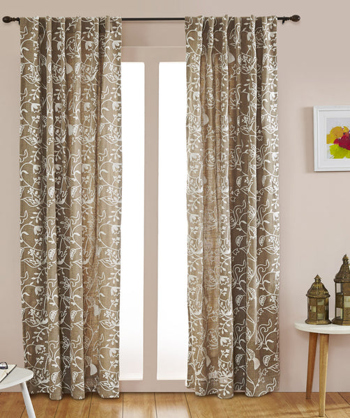 #P5540 Taupe  Blue Bird of Paradise Curtain (Use Discount Code) Pay 1/2 Down