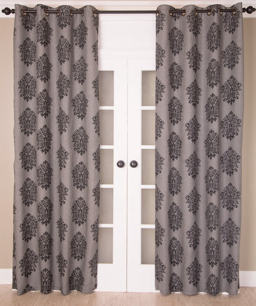 #P562 Grey Print Curtain (Use Discount Code) Pay 1/2 Down