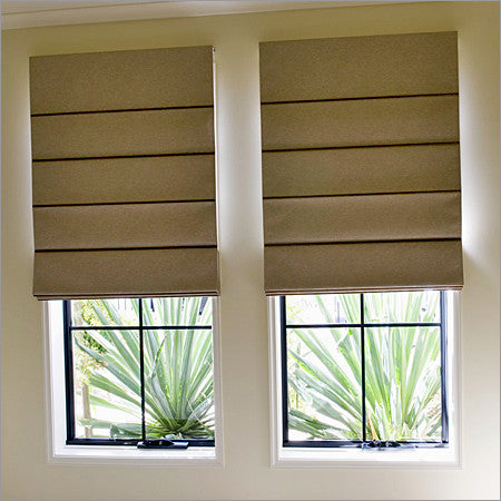 #113  Burlap Roman Shades     (tucks) YOU PAY  1/2  DOWN