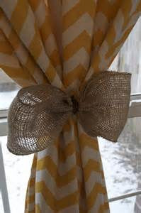 Chevron Curtain with Burlap Bow   #2008   YOU PAY 1/2 DOWN