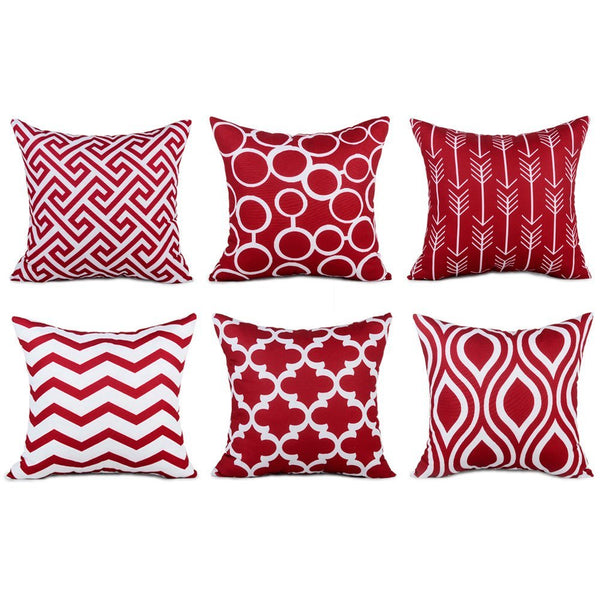 TP16 Wine Red Throw Pillows Group