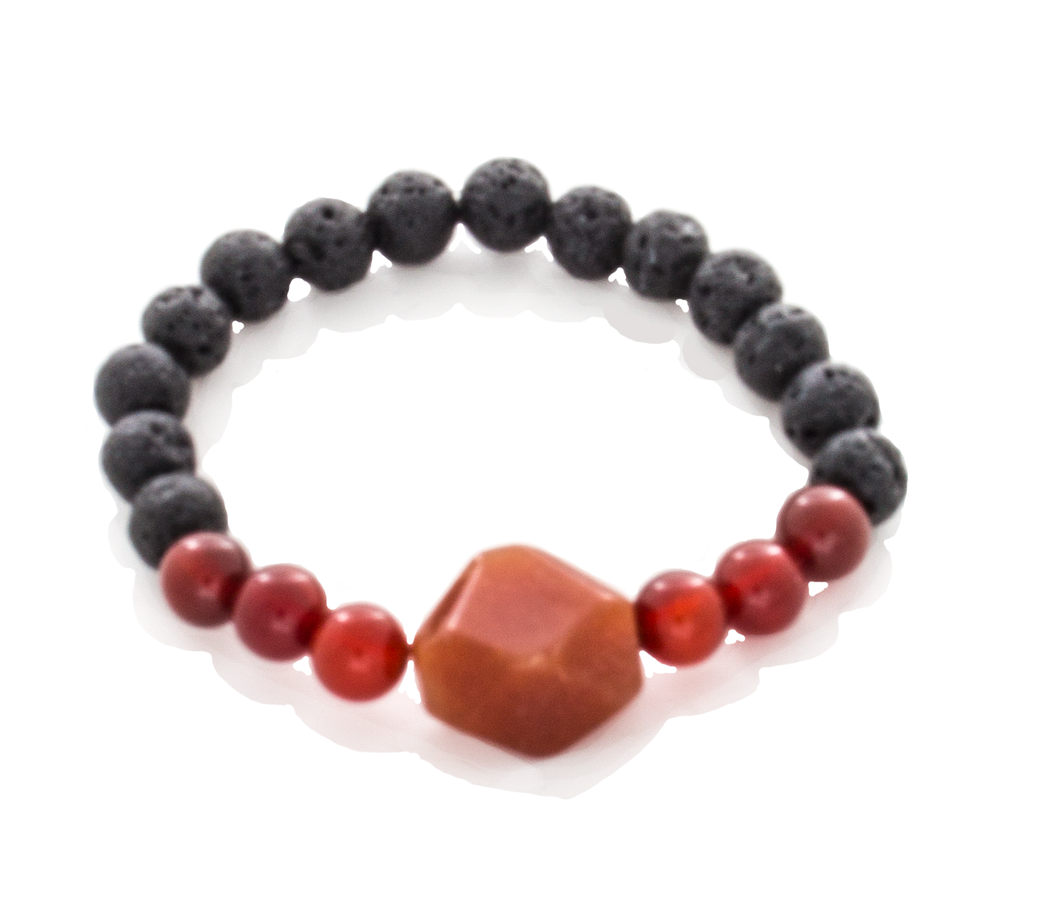 Carnelian Round and Trapazoid, Lava Beaded Stretch Infusion Bracelet-Good Feng Shui- for all genders