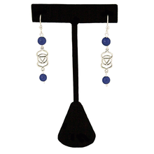 Lapis Third Eye Chakra (Anja Symbol)  in Antique Silver Post Earrings