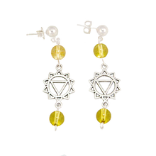 Citrine Solar Plexis (MAanipura) Chakra Earrings in Antique Silver