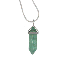"Fluorite (green) Hexagonal Point Necklace on Sterling Silver 22"" Chain or Black Cord"