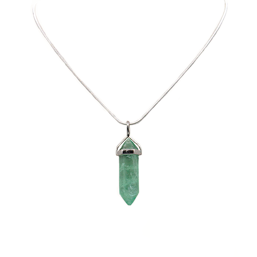Fluorite (green) Hexagonal Point Necklace on Sterling Silver 22