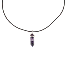 "Fluorite (purple) Hexigonal Point Necklace on a 22"" Steling Silver Chain or black cord"