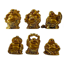 Laughing Buddha Gold Statues for Good Luck & Prosperity-Good Feng Shui