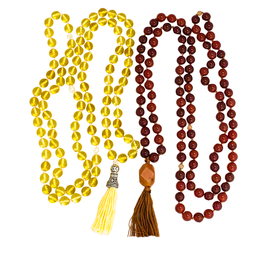 Mala 108-Bead in either: Amethyst, Carnelian, Rose Quartz, Green Aventurine, or Citrine