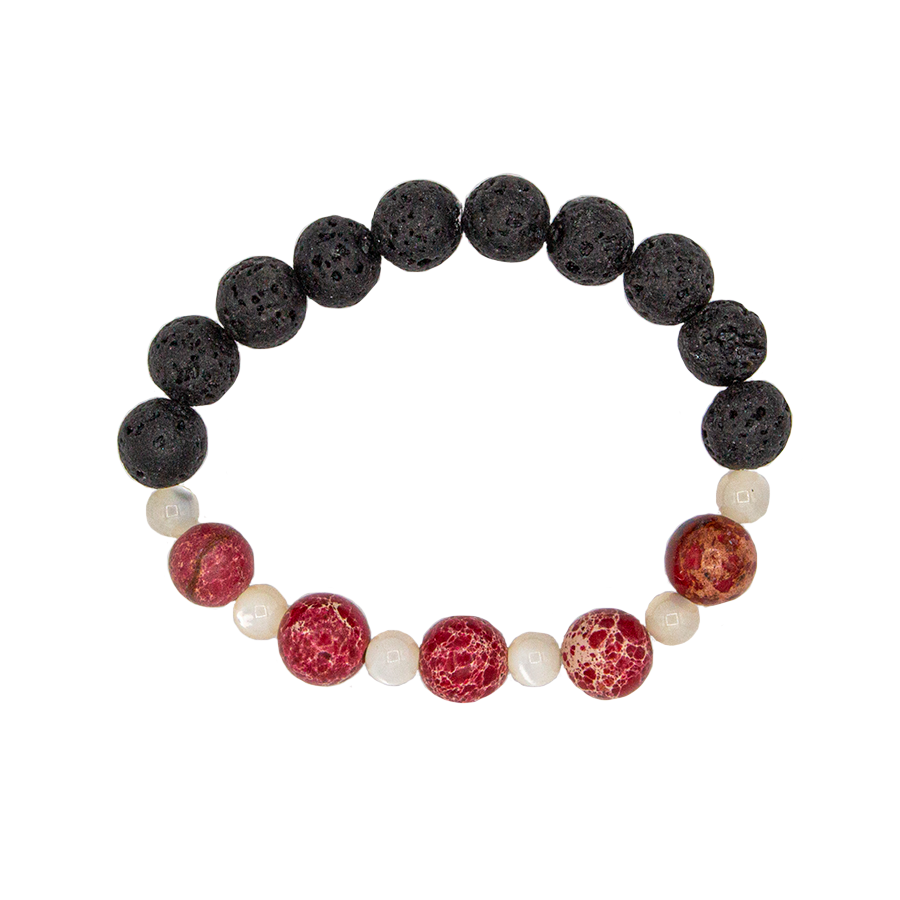 Red River Jasper, Ulexite, and Lava Stretch Infusion Bracelet for all genders-Good Feng Shui