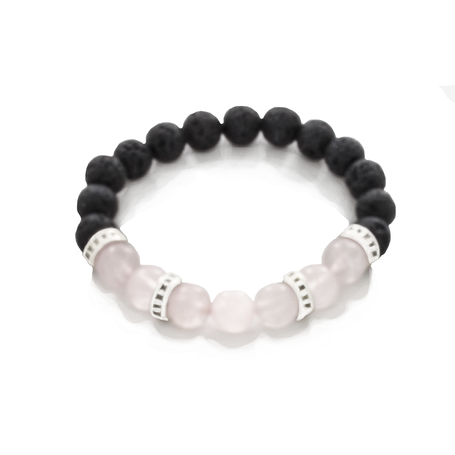 Rose Quartz, Lava, and Sterling Silver Stretch Infusion Bracelet-Good Feng Shui-for all genders