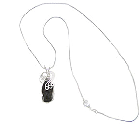 Shungite Sterling Silver Wire Wrapped Necklace