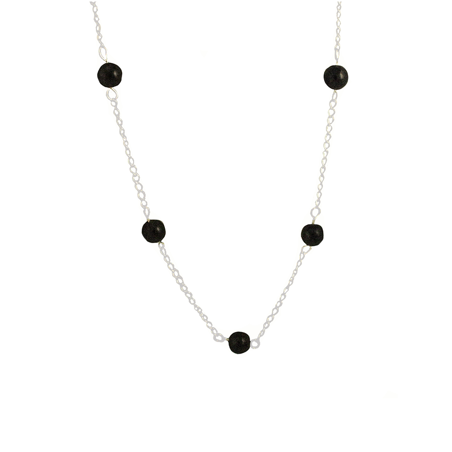 Shungite Beads Spaced on Sterling Silver Chain Necklace