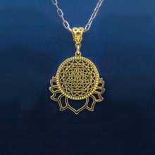 Sri Yantra on Lotus in gold Necklace