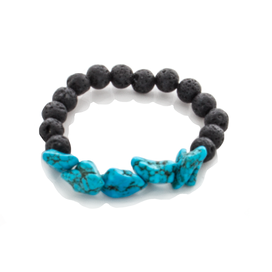 Turquoise Nugget and Lava Bead Stretch Infusion Bracelet-Good Feng Shui-for all Genders