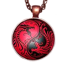 Yin Yang Red and Black Dragon Pendant Necklace - Sandra Jeffs