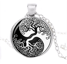 Yin Yang Tree of Life in Black and White Pendant Necklace - Sandra Jeffs