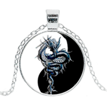 Yin Yang with Blue Dragon Pendant Necklace - Sandra Jeffs