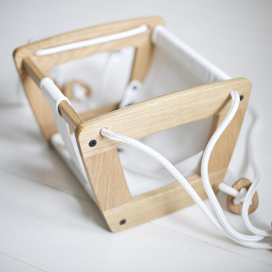 "Babyschaukel ""Toddler Oak White Seat and Ropes"""