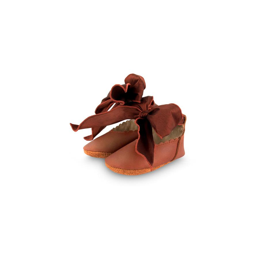 "Babyschuhe ""Lieve Lining Cognac Classic Leather / Mahogany Roughened Silk"""