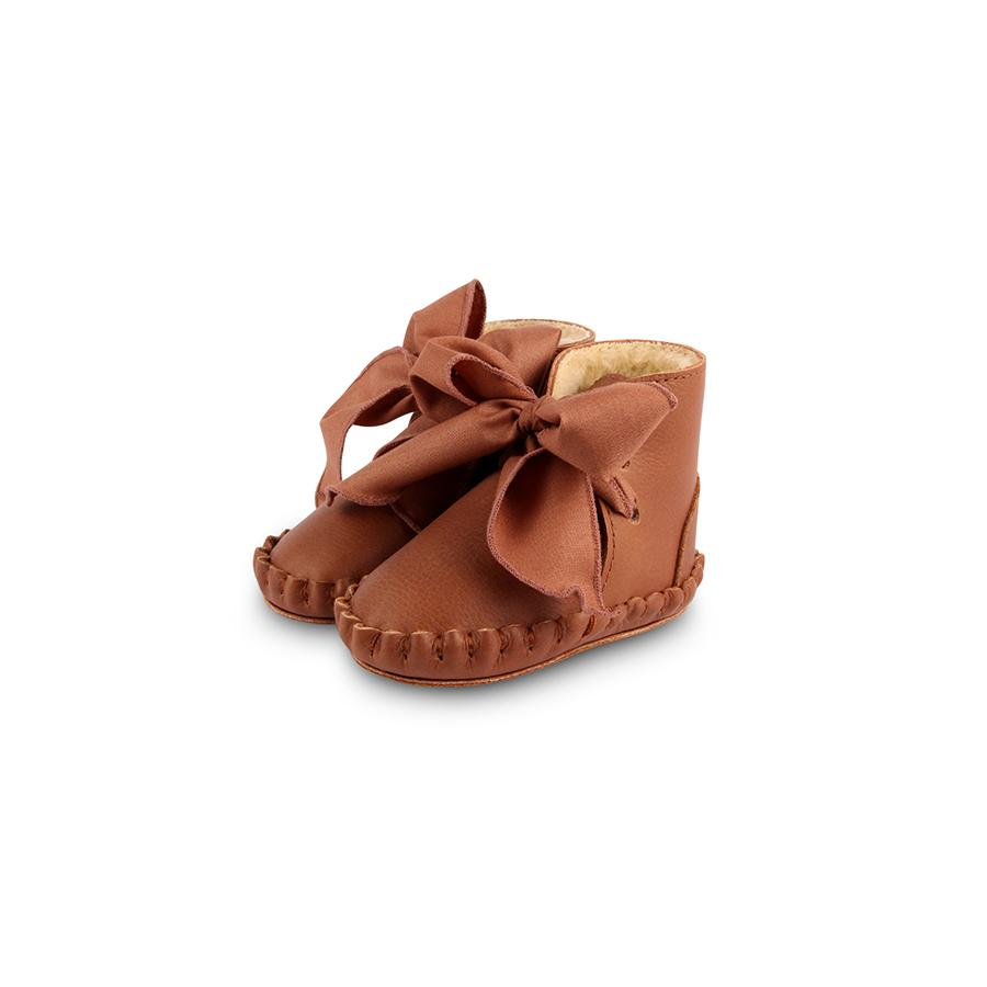 "Babyschuhe ""Pina Organza Lining Cognac Leather / Toffee Cotton"""