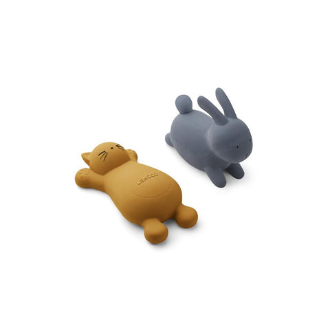 "Badespielzeug ""Vikky Cat Mustard / Rabbit Blue Wave"" 2er Pack"