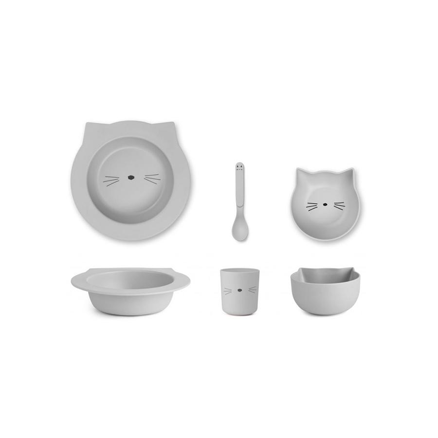 "Bambusgeschirr-Set ""Barbara Cat Dumbo Grey"""