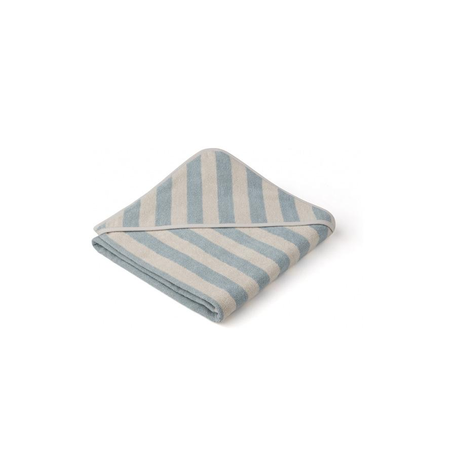 "Kapuzenhandtuch ""Louie Stripe Sea Blue / Sandy"""