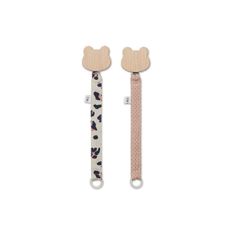 "Schnullerband ""Sia Leo Beige Beauty / Little Dot Rose"" 2er Pack"