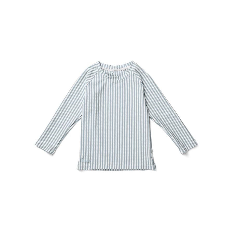 "UV-Badeshirt ""Noah Seersucker Stripe Sea Blue / White"""