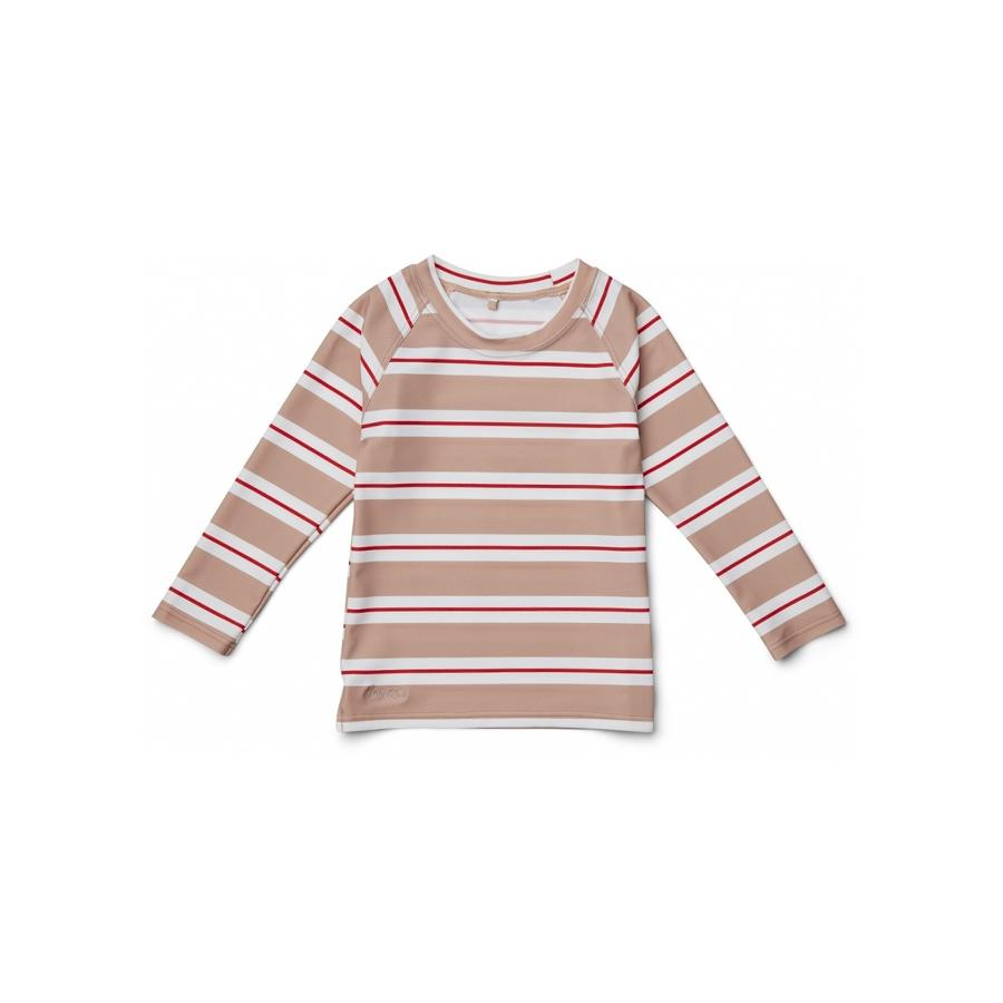 "UV-Badeshirt ""Noah Stripe Rose / Apple Red / Crème de la Creme"""
