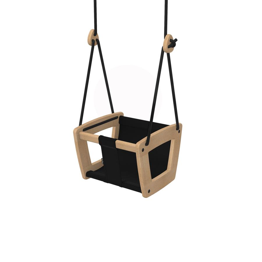 "Babyschaukel ""Toddler Oak Black Seat and Ropes"""