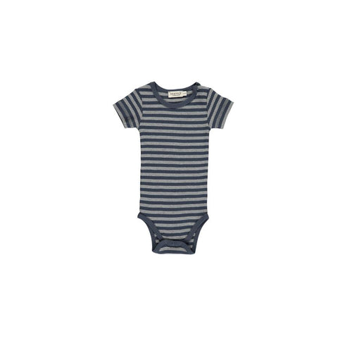"Kurzarm-Body ""Stripes Blue / Grey Melange"" einfach"