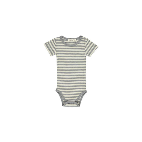 "Kurzarm-Body ""Stripes Offwhite / Grey Melange"" einfach"
