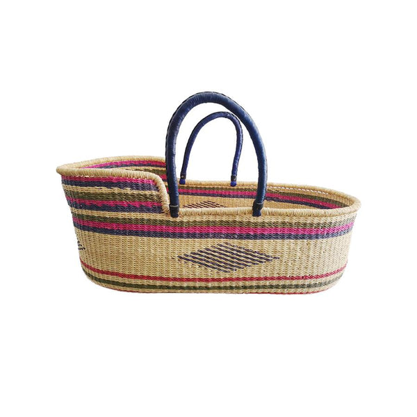 "Moses-Korb ""Baby Moses Basket Pink, Green and Green Striped"""