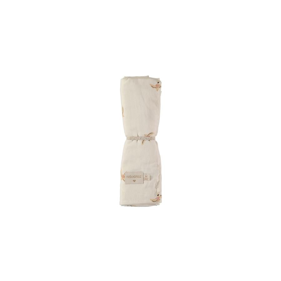 "Mulltuch Swaddle ""Butterfly Haiku Birds / Natural"""
