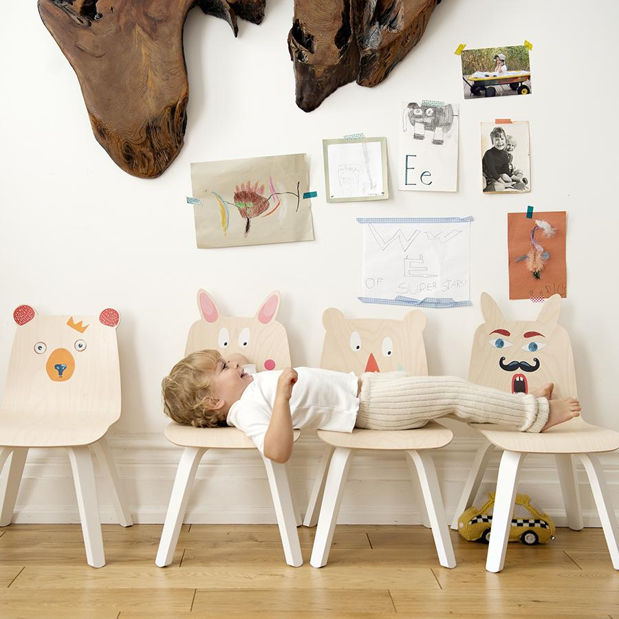 "Kinderstuhl ""Bear White / Birch"" 2er Set"