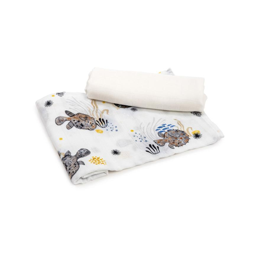 "Mulltuch ""Bamboo Swaddle Ocean Pufferfish & Plain"" 2er Pack"