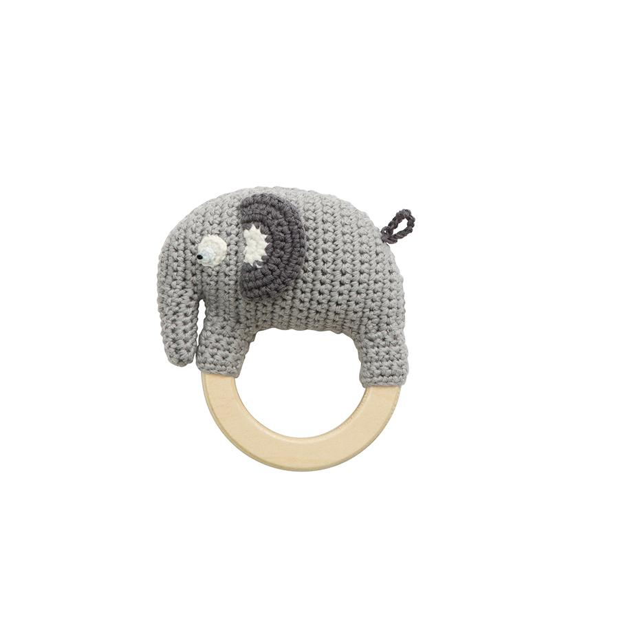 "Babyrassel ""Crochet Fanto the Elephant on Ring Classic Grey"""