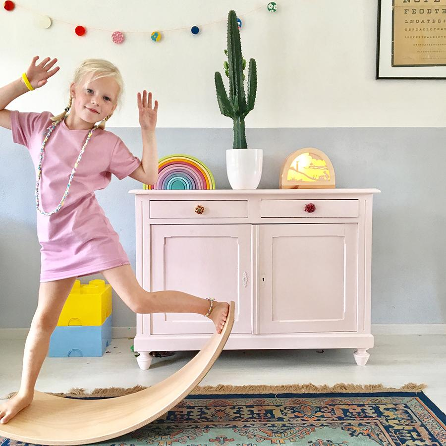 "Balance Board ""Wobbel Original Leinen Whitewash Filz Wild Rose"""