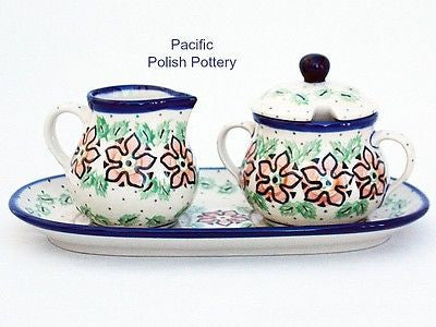 Cream and Sugar Set with Tray - Pacific Polish Pottery  - 1