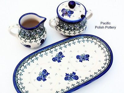 Unikat Cream and Sugar Set with Tray - Pacific Polish Pottery  - 4