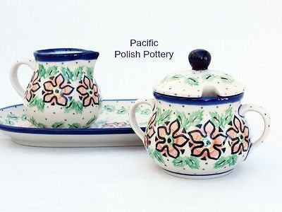 Cream and Sugar Set with Tray - Pacific Polish Pottery  - 2