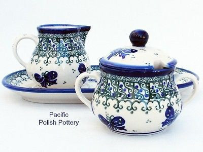 Unikat Cream and Sugar Set with Tray - Pacific Polish Pottery  - 2