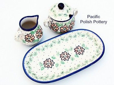 Cream and Sugar Set with Tray - Pacific Polish Pottery  - 4