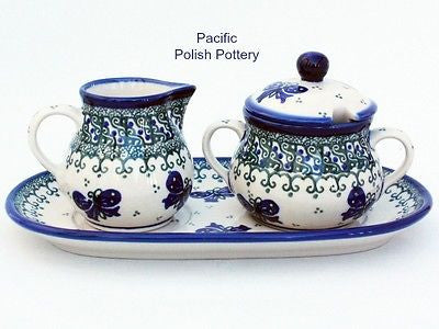 Unikat Cream and Sugar Set with Tray - Pacific Polish Pottery  - 1