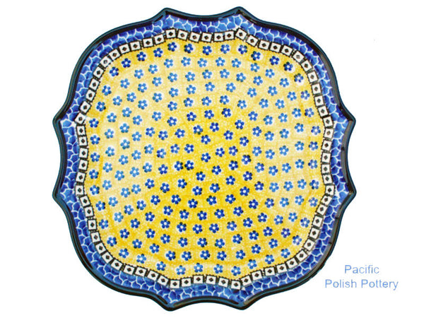 "10.5"" Fancy Edge Tray or Dinner Plate - Pacific Polish Pottery"