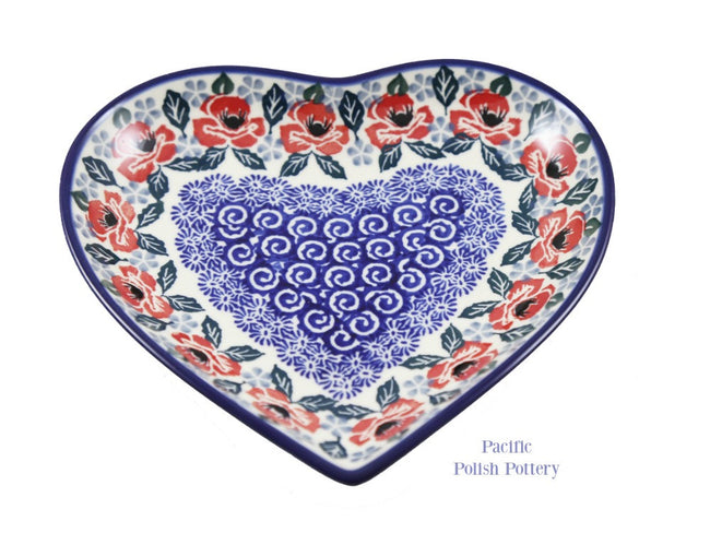 "7"" Heart Plate- Pattern 1490 - Pacific Polish Pottery  - 2"